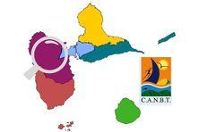 Les communes de Goyave, Petit-Bourg, Lamentin, Sainte-Rose, Deshaies et Pointe-Noire composent la CANBT (en violet)
