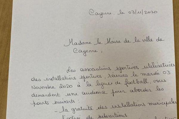 courrier maire de Cayenne