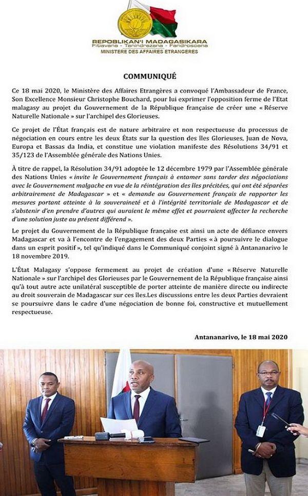 Courrier transmis à l'ambassadeur de France à Madagascar le 18 mai 2020 îles Eparses
