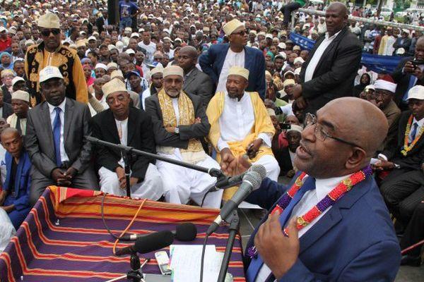 L'ancient président des Comores et candidat Azali Assoumani en meeting le 24 janvier à Moroni