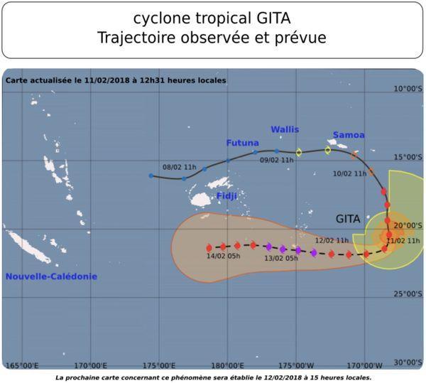 Prévision de trajectoire de Gita dimanche midi (11 février)