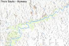 Une carte de Trois Sauts, portant les toponymes en langues amérindiennes (Parc amazonien de Guyane)