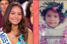 """À gauche une photo de Vaimalama Chaves sur le plateau de """"Ça commence aujourd'hui"""", à droite une photo d'elle enfant."""