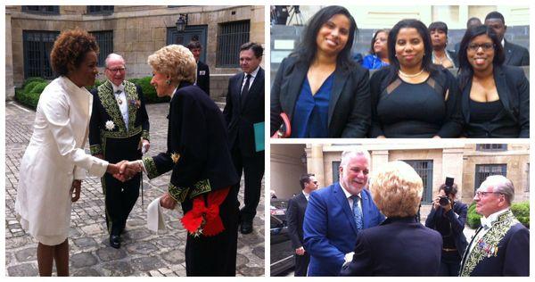 Michaëlle Jean, secrétaire générale de la francophonie, Les trois soeurs Laferrière et le Premier ministre du Québec Philippe Couillard