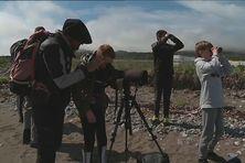 Les quatre élèves de l'école du socle à Miquelon en expédition sur la Grande Île pour observer la faune et la flore locale en présences des agents de l'Office Français pour la Biodiversité