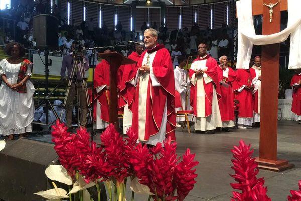 Célébration de la messe en présence des évêques de la Caraïbe au Progt le 8 mai 2019