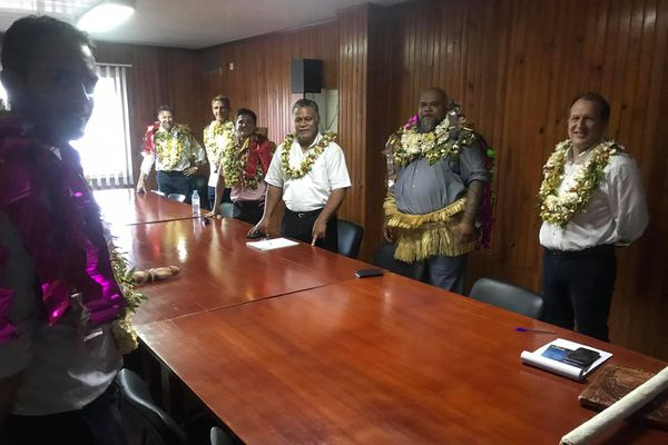 La délégation dirigée par Vaimua Muliava reçu par le président Kolokilagi