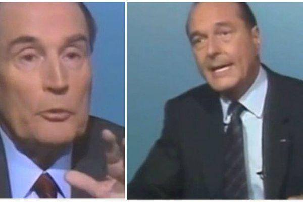François Mitterrand et Jacques Chirac lors du débat télévisé en 1988