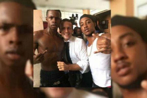 Photo de Macron aux Antilles
