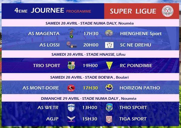 Programme modifié 4ème journée Super ligue