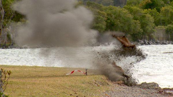 Obus à Magenta plage, explosion par le Nedex, 30 octobre 2019
