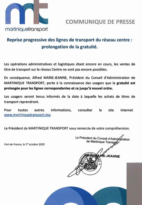 Communiqué Martinique Transport