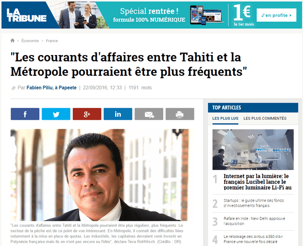 Le ministre de l'économie a les honneurs de La Tribune.fr