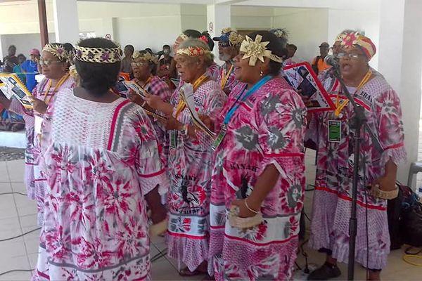 6e festival des arts mélanésiens Macfest, juillet 2018, Honiara, la chorale de Pouebo