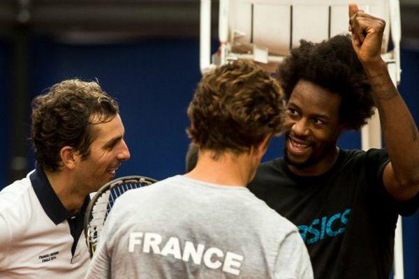 Gaël Monfils en préparation de la Coupe Davis avec Julien Benneteau et Richard Gasquet