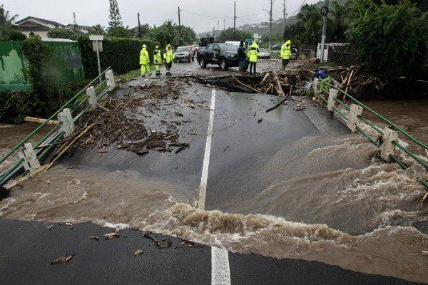 Inondations en Polynésie le 22 janvier 2017 à Punaauia