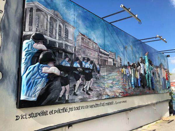 Fresque des événements de mai 67, à Dubouchage Pointe-à-Pitre