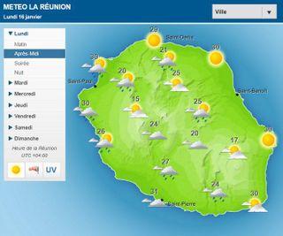 Carte météo après midi du 16 janvier 2017