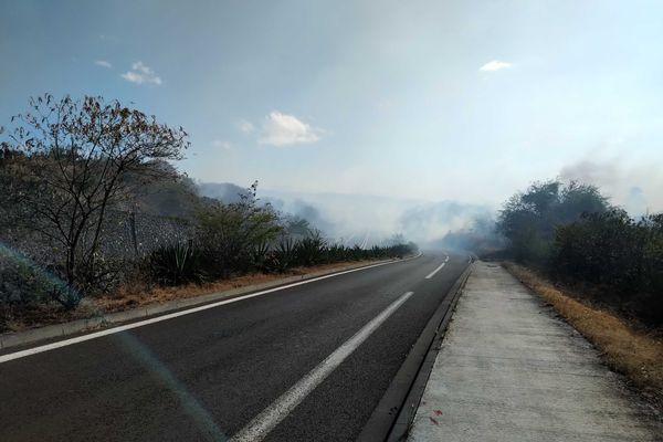 Incendie dans la savane de Plateau-Caillou, dimanche 19 septembre route fumée