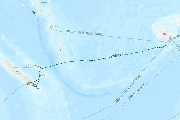 Carte du projet de câble Gondwana 2