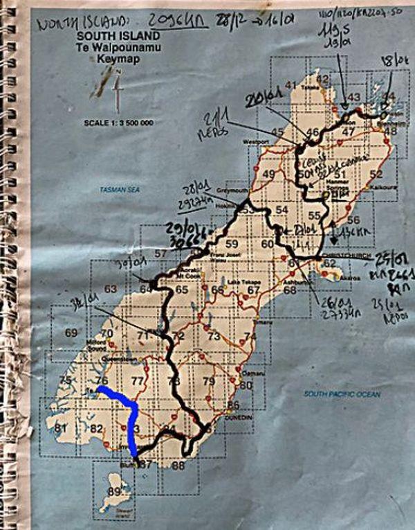 Rotary tour nouvelle-zélande 2018 carte itinéraire île du Sud