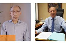 Alfred Marie-Jeanne, le président du conseil exécutif et Claude Lise, le président de l'assemblée de Martinique.