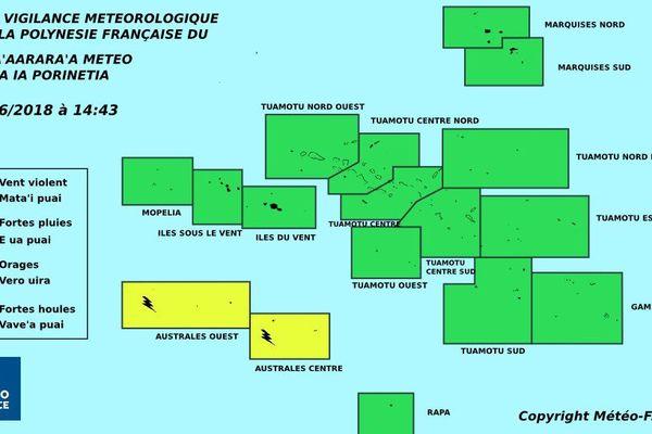 Vigilance jaune pour les orages aux Australes