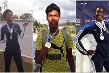Fiona Aholu-Futse (médaille de bronze saut en longueur), BaptisteThiery (médaille d'or saut à la perche) et ThaméraManette (médaille d'argent lancer de poids).