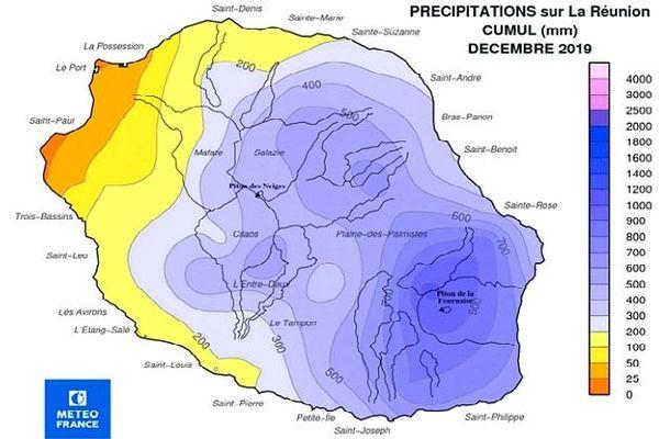 Carte des précipitations enregistrées en décembre 2019