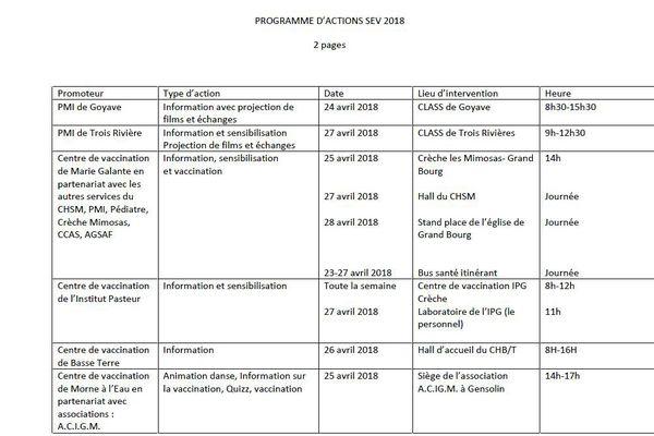 Progamme semaine de vaccination