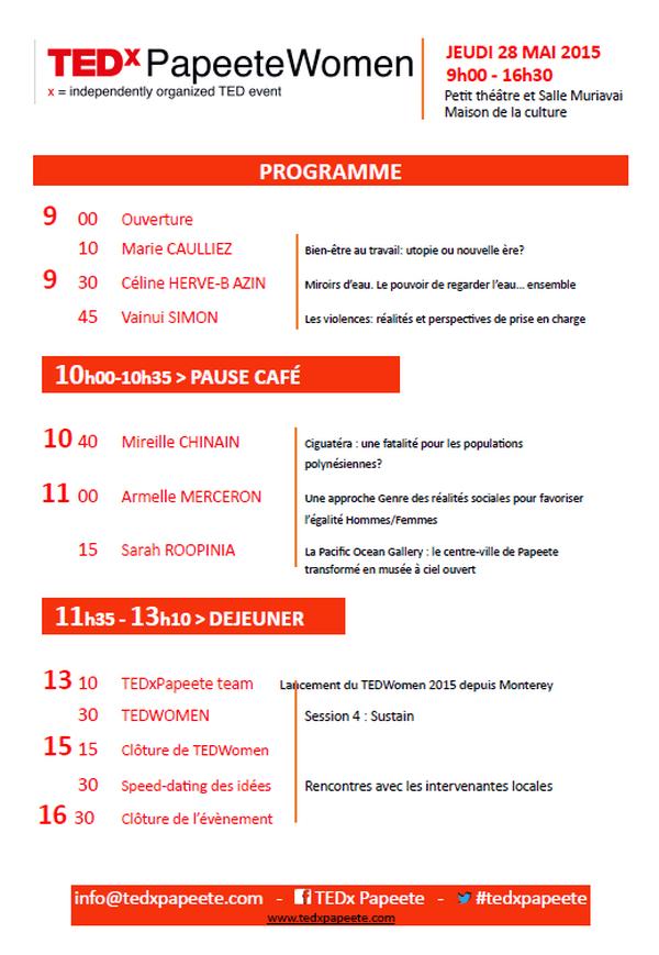 Programme de TEDxPapeeteWomen du 28 juin 2015