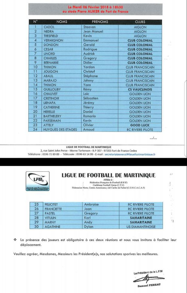 liste sélectionnés football