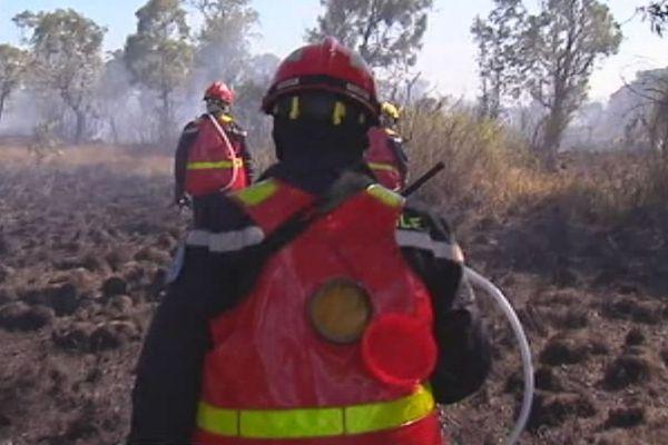 Pompiers sur zone incenidée
