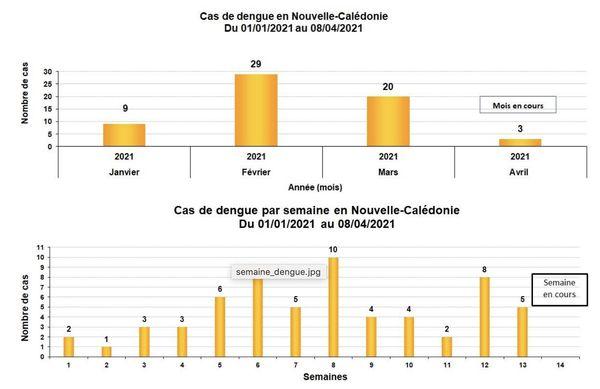 Evolution cas de dengue entre le 1er janvier et le 8 avril 2021