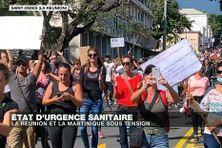 Des manifestants s'opposent aux nouvelles restrictions liées à l'état d'urgence sanitaire décrété à La Réunion