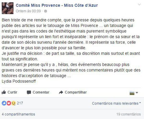 Miss Provence défendue par son comité sur Facebook