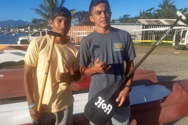 Les jeunes rameurs Taaroa Pani et Kaimana Bastien. Août 2020