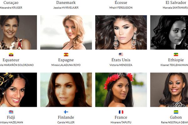 Les candidates à Miss Monde 2016