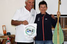 Richard Drouet en compagnie de Claudine Le Roux, entraîneur national.