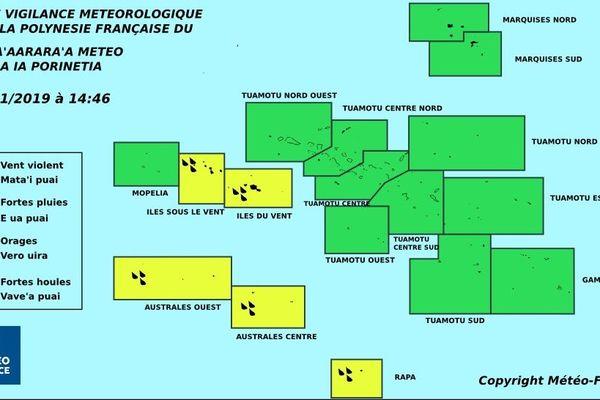 Vigilance jaune étendue des Îles du Vent aux Australes
