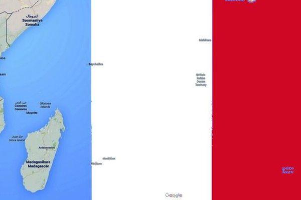 Drapeau français et Océan Indien