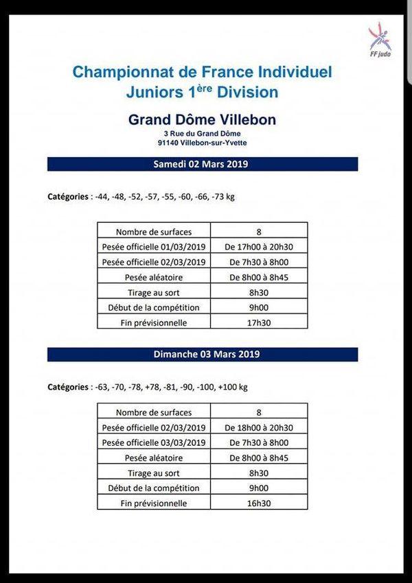 Judo : championnats de France individuel Juniors