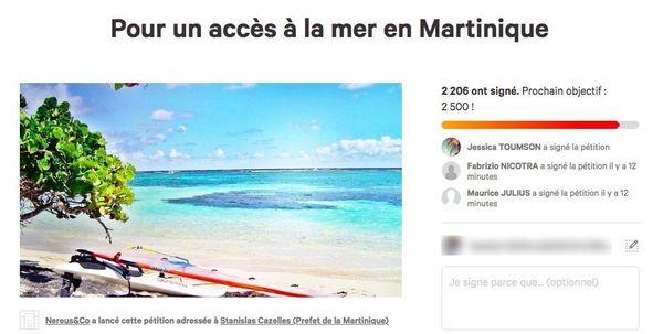 Pétition accès à la mer Martinique