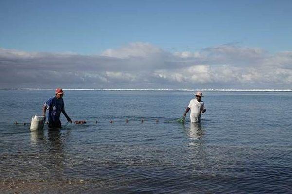 Réserve naturelle marine de la réunion carte de pêche pêcheurs aux capucins dans le lagon de la Saline