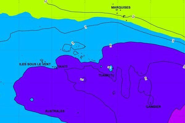 Carte prévisionnelle de l'élévation du niveau de la mer dimanche 1er octobre. En mauve les zones les plus concernées.