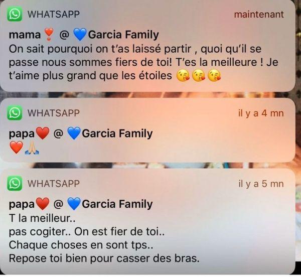 Exemples de messages de soutien que Krystal reçoit de ses parents restées en Polynésie