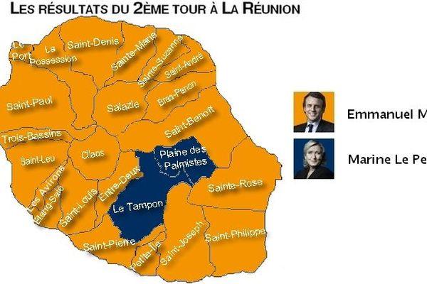 Carte Réunion 24 communes (2ème tour)