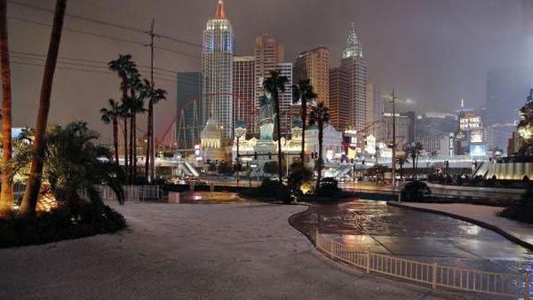 La ville de Las Vegas (Etats-Unis) sous la neige, le 21 février 2019