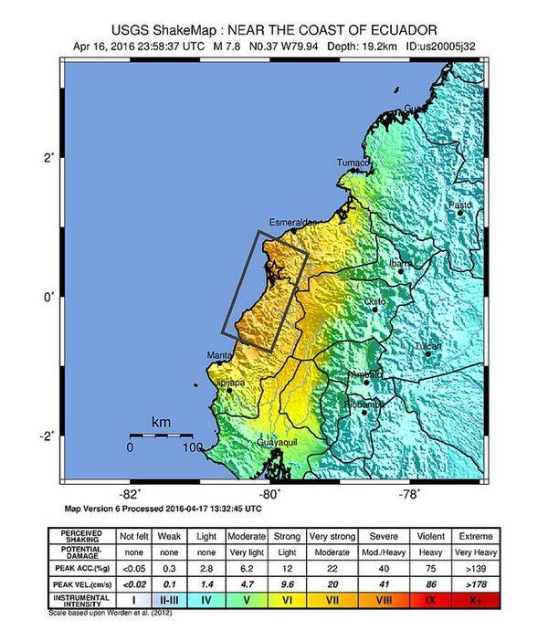 Tremblement de terre en Equateur