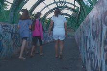 """A gauche, la jeune fille """"piégée"""" et """"obligée"""" de se battre sur ce pont enjambant la RDO et situé près du collège Henri Hiro."""